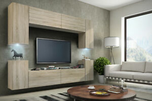 Das Bild Wird Geladen Mediawand Wohnwand 8 Tlg Konzept 1 Sonoma Eiche
