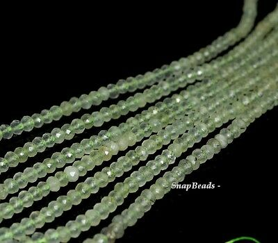 """4X3MM MOSS POND  PREHNITE GEMSTONE GREEN FACETED RONDELLE 4X3MM LOOSE BEADS 16"""""""