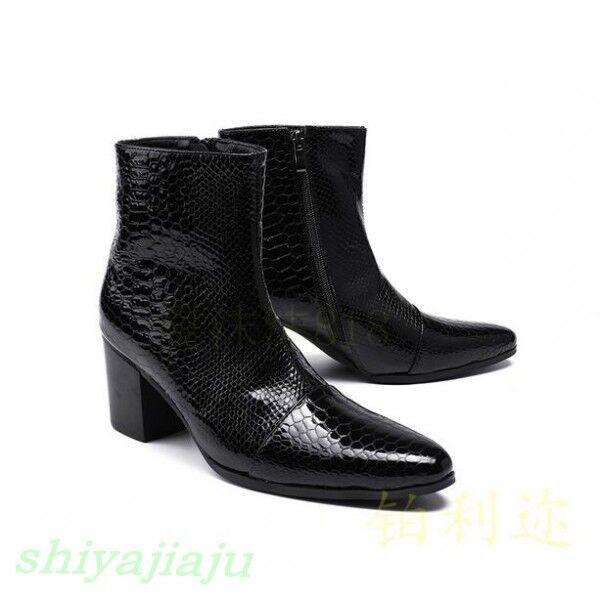 Scarpe casual da uomo  Fashion uomos Serpentine Pointy Toe High Heels Ankle Boots Nightclub Leather Shoe
