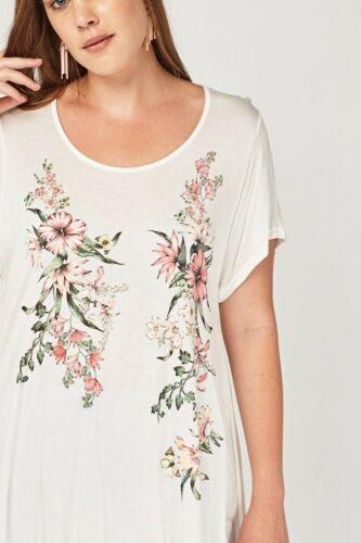 Womens New White Sheer Long Top Floral Asymmetric 4 Point Hem Ladies Plus Size
