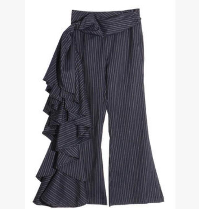 Fashion Womens Slim Asymmetrical Long Wide Legs Bootcut Pants Casual Trousers H1