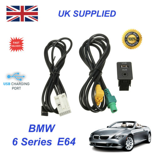 For BMW 6 E64 USB Aux Switch & USB Wire 3.5mm AUX Cable Adapter 3CD 035 249 A