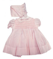 Petit Ami Preemie Pink Smocked Panty Dress With Bonnet