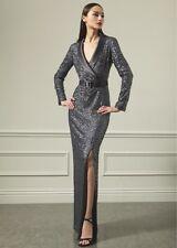 ST. JOHN Grey Sequin Belted Tuxedo Dress Gown 2 4