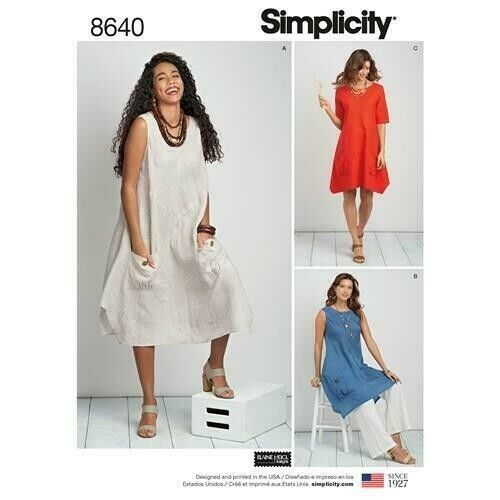 Simplicity 8640 Lagenlook Tunic Dress Plus Size Sewing Pattern 20-28 S8640