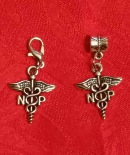 NURSE PRACTITIONER HOSPITAL NP CADUCEUS MEDICAL ANTIQUE SILVER CHARM