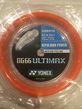 YONEX BG66 ULTIMAX 200M COIL BADMINTON STRING ORANGE COLOUR