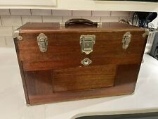 Vintage H Gerstner Amp Sons Oak Machinists Chest Toolbox With Misc Tools Ships Free
