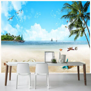 3d Romantic Ocean Beach Scenery Self Adhesive Tv Background Mural