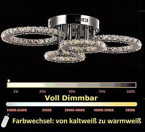 4 ringe dimmbar led kristall deckenleuchte deckenlicht pendelleuchte deckenlampe ebay. Black Bedroom Furniture Sets. Home Design Ideas