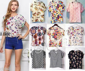 Fashion-Summer-Women-Lady-Casual-Short-Sleeve-Loose-Chiffon-T-shirt-Tops-Blouse