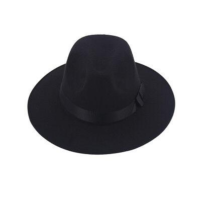 Men Women Trilby Hats Caps Pork Pie Fedora Panama Black Hard Felt Jazz Wide Brim