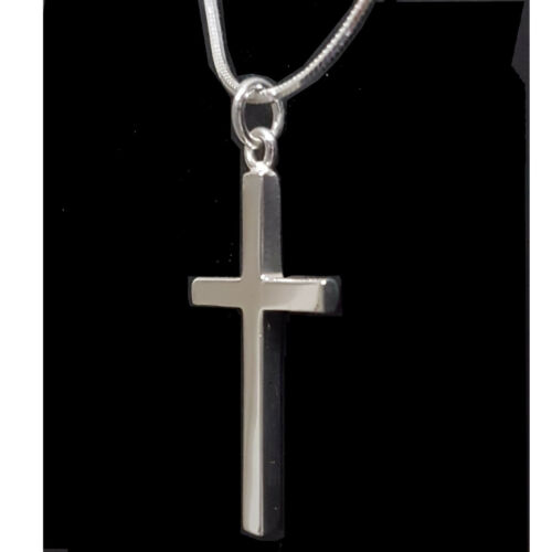 Bold Religious Pendant Cross Polished Solid 925 Sterling Silver Men and Boys