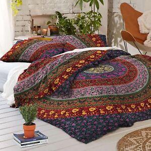 Tapestry-Wandbehang-Lila-Multi-Cotton-Mandala-Throw-Hippie-Dekor-ethnischen-Twin