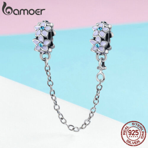 Bamoer Authentic S925 Sterling Silver Safety Chain Purple Flowers For Bracelets