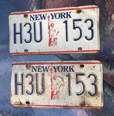 Vintage License Plate Set NEW YORK NY Liberty1986-90s H3U 153