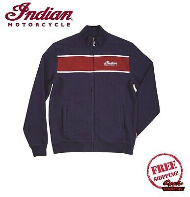Indian Motorcycle Mens Full-Zip Colorblock Sweatshirt Navy//Red