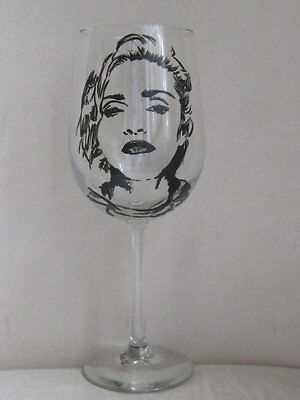 Hand Painted Libbey Clear Wine Glass - MADONNA