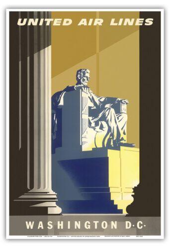 Washington D.C Lincoln Memorial Vintage Airline Travel Art Poster Print