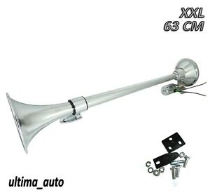 24V CHROME KING SIZE AIR HORN TRUCK WAGON TRACTOR LORRY TRAILER CHASSIS BUS