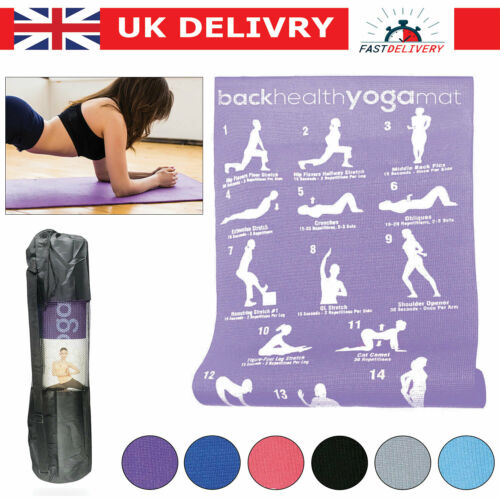 Pilates Fitness Exercise Yoga Mat Carry 28 Position Strap Guide for Workout