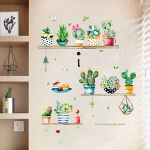 Garden-Plant-Bonsai-Cactus-Flower-Butterfly-Wall-Stickers-For-Home-Decoration-G