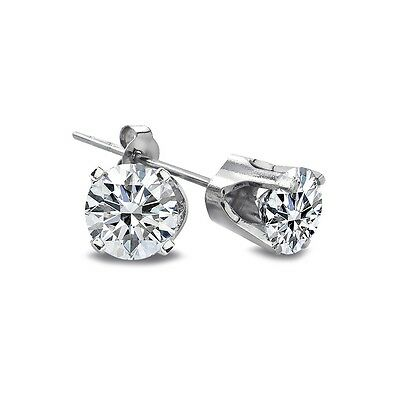 1/5 Ct Round Natural Diamond 14K White Gold Stud Earrings