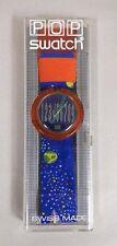 VINTAGE 1990 POP SWATCH QUARTZ WATCH SPUTNIK ROCKET SPACE BLUE WITH CASE NIB