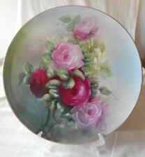 T&V Limoges Handpainted Large Charger Pink Red Roses Circa 1982-1907 13""