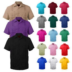 New-Guayabera-Men-039-s-Premium-Cuban-Bartender-Wedding-Casual-Button-Up-Dress-Shirt