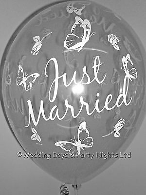 10 Clear Butterfly Just Married Helium/Air Wedding Balloons Decorations Qualatex