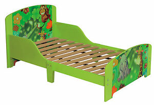 Image Is Loading Toddlers Green Jungle Single Bed Frame With Slat