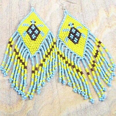 NEW WOMENS YELLOW BLUE BROWN BEADS TURTLE BEADED EARRINGS HANDMADE