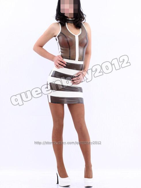 100% Latex Rubber Gummi 0.45mm Dress Mini Skirt Suit Catsuit Stripe Hot Sexy