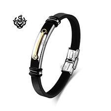 Black PV leather bracelet silver stainless steel gold bar