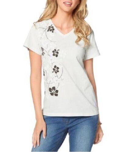 36 Q1839-534406 Gr Modernes CORLERY Shirt mit Blumendruck in Wollweiß