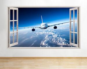 Aeroplane-Jet-Ciel-Scene-Chambre-A-Coucher-Garcons-Fenetre-Autocollant-Mural-3D