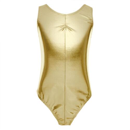 Kids Girls Sleeveless Glittery Ballet Dance Gymnastics Leotard Jumpsuit Unitard