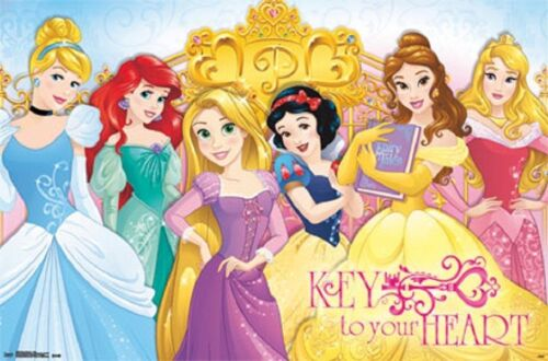 2015 DISNEY PRINCESS KEY TO YOUR HEART POSTER 34x22 NEW FREE SHIPPING