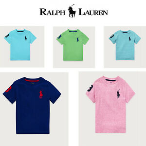Ralph-Lauren-Boys-T-Shirt-Casual-Crew-Neck-Genuine-Real-Top-Polo-Short-Sleeves