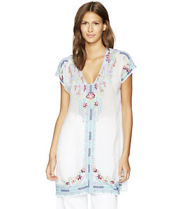 JOHNNY-WAS-Blouse-V-Neck-YASSI-TUNIC-Embroidered-Short-Sleeve-Dress-XL-248