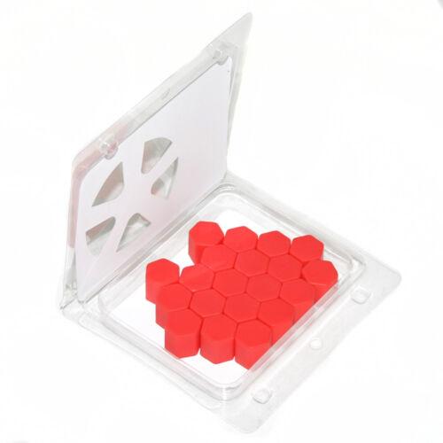 20 Rot Silikon Kappen Rad Mutterabdecking 17mm für Citroen C2 C3 Picasso C4 C5