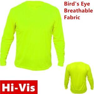 Hi-Vis-High-Visibility-T-Shirt-Non-ANSI-Long-Sleeve-Safety-Work-Green-Tee-Shirts