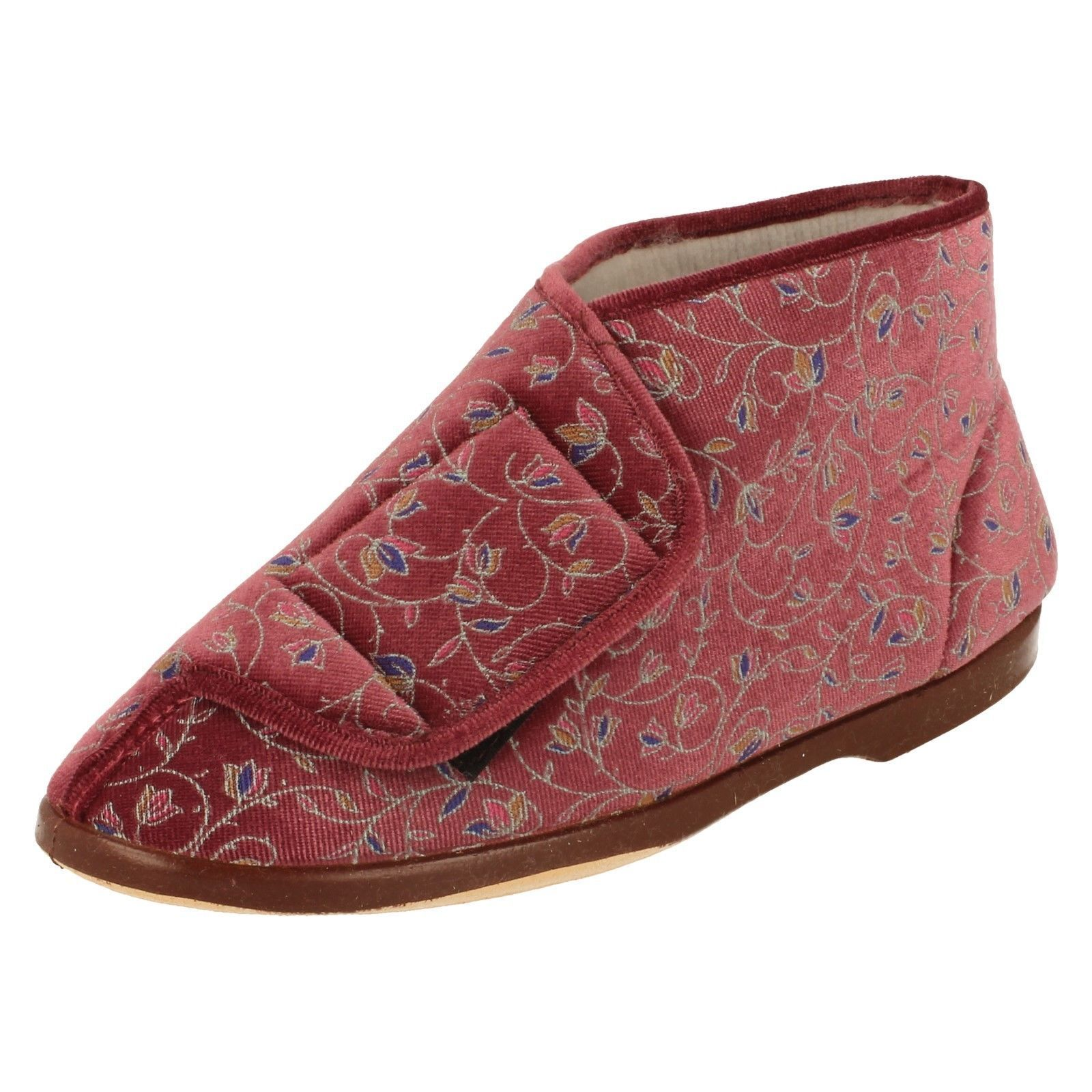 Ladylove Floral 'Edith' Ladies Heather Colour Floral Ladylove Wide Opening Boot Slippers 995314