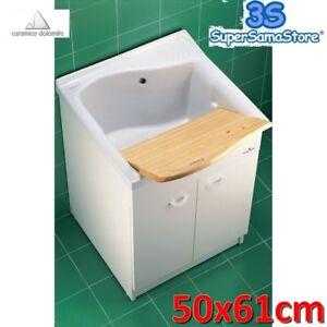 3S LAVATOIO 61x50 CON MOBILE E ASSE LEGNO LAGO CERAMICA DOLOMITE ...