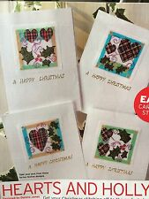 Holly And Tartan Heart Christmas Cards Cross Stitch Chart