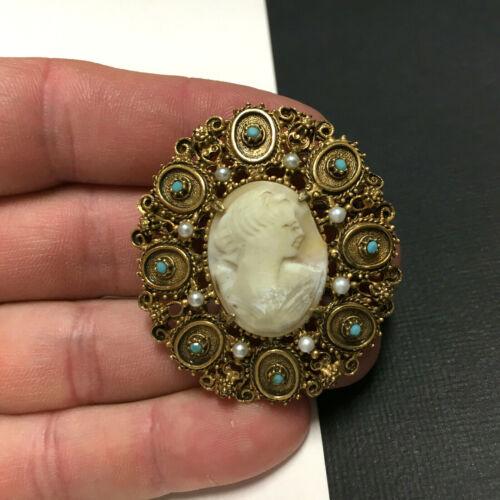 Big Ornate Vintage FLORENZA CAMEO Brooch Pearl & … - image 1