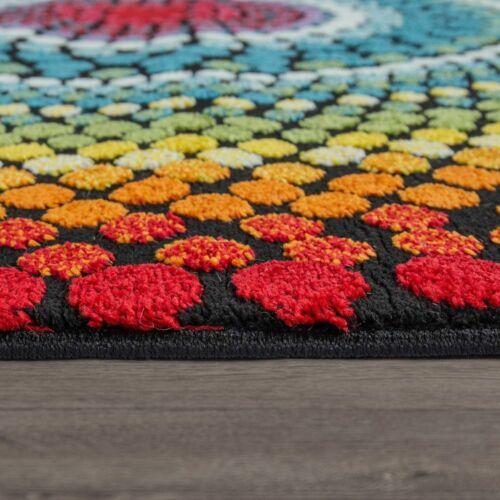 Wohnzimmer Teppich Bunt Kurzflor Retro Muster Abstraktes Design Boho Stil 3-D