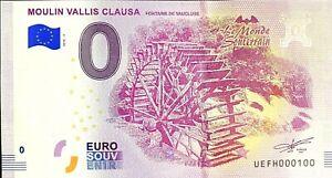 BILLET-0-EURO-MOULIN-VALLIS-CLAUSA-FRANCE-2018-NUMERO-100