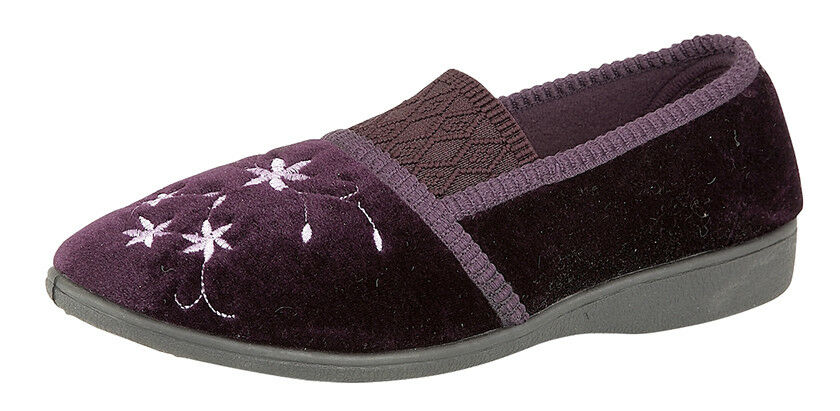 ladies injected women new velour budget boxed slippers injected ladies pvc sole size 5-8 9db59f